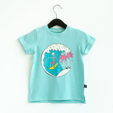 Rolled Sleeve Kids Tee - 'Surfs Up' - Tibetan Stone