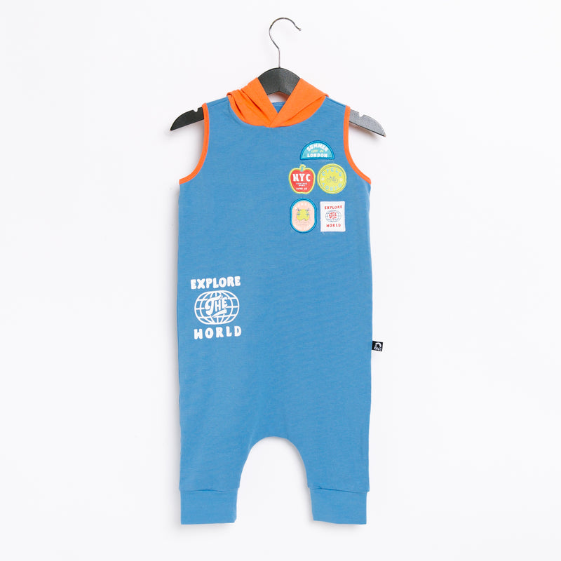 Tank Hooded Capri Rag Romper - '70s Travel Patches' - Parisian Blue