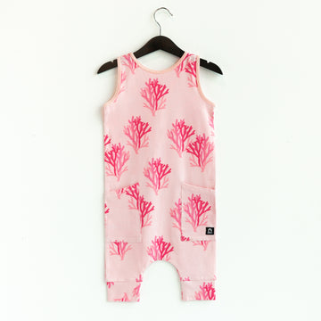 Tank Capri Hip Pocket Rag Romper - 'Coral Reef' - Rose CAW