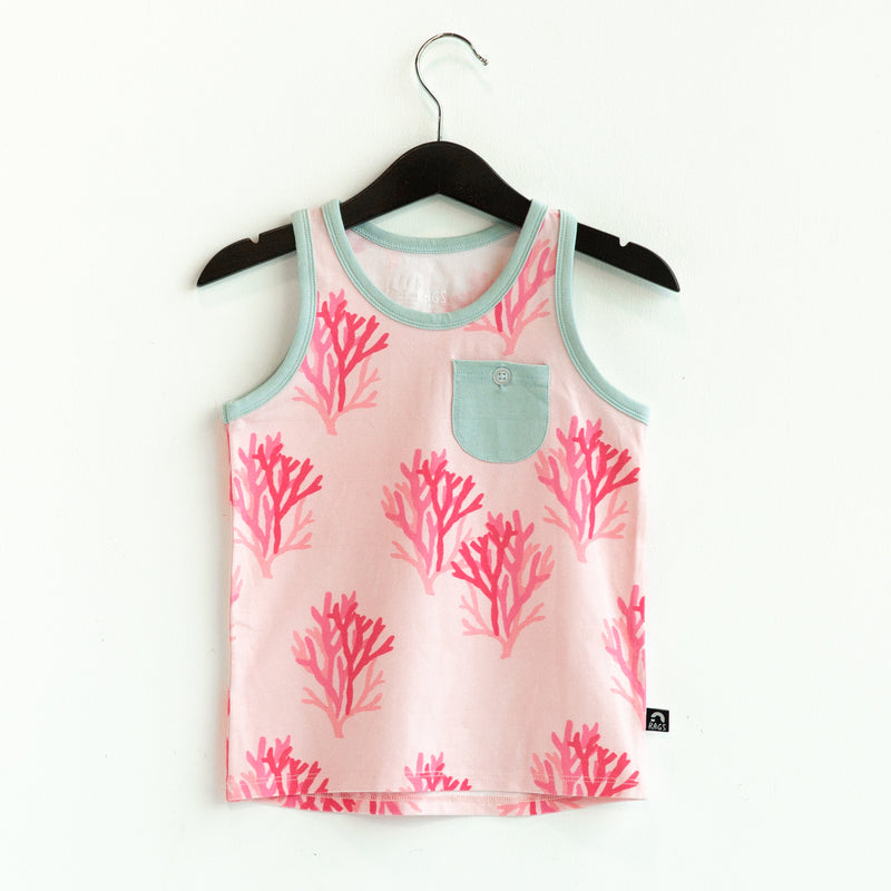 Kids Pocket Tank Tee - 'Coral Reef' - Rose CAW