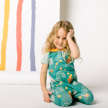 Short Sleeve Hooded Peek Pocket Rag Romper - 'Abstract Rainbow Shapes'