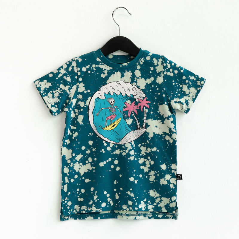 **PREORDER** Short Sleeve Kids Tee - 'Surfs Up' - Blue Bleach Wash