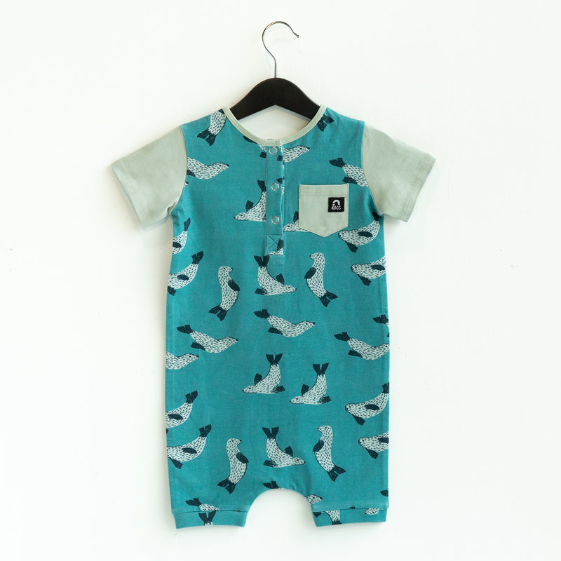 Short Sleeve Henley Short Pocket Rag Romper - 'Seals' - Aqua Sky