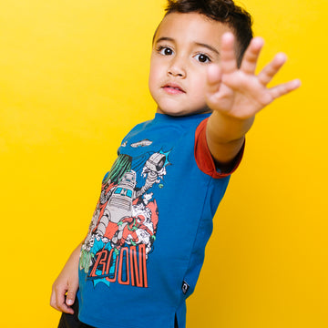 Short Sleeve Kids Tee - 'Sonic Boom' - Mykonos Blue