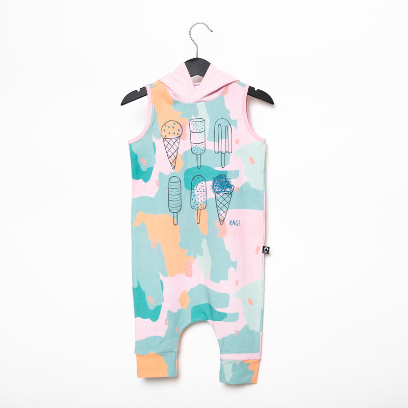 Tank Hooded Capri Rag Romper - 'I Scream' - Painted