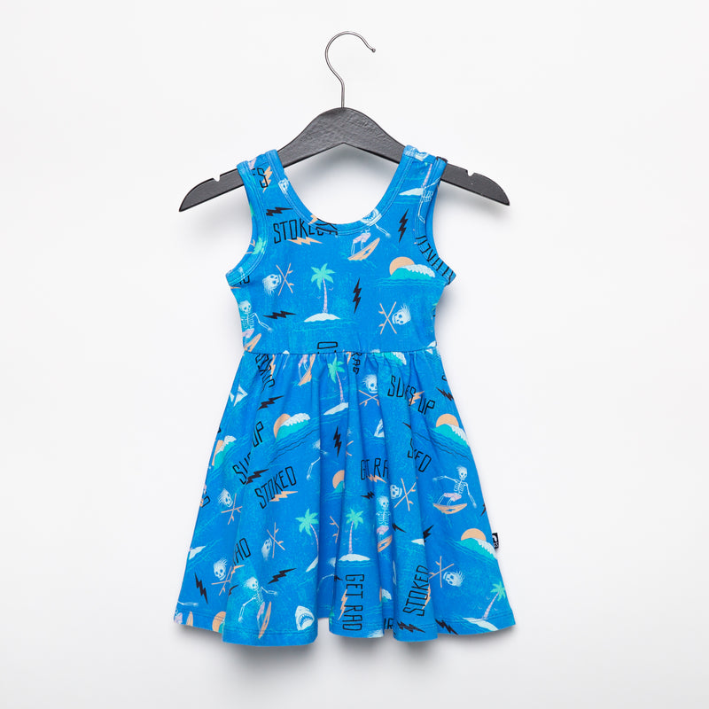 **PREORDER** Tank Swing Dress - 'Skelly Beach' - Blue