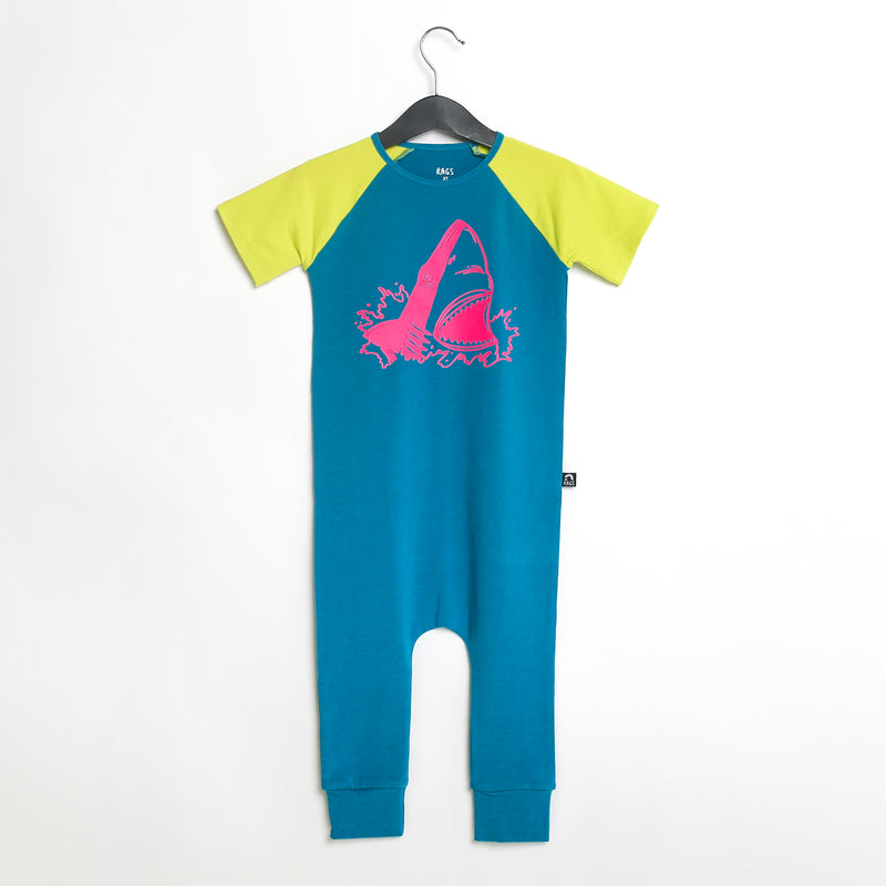 Short Raglan Sleeve Rag Romper - 'Shark Attack' - Mosaic Blue