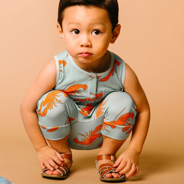 Tank Henley Capri Pocket Rag Romper - 'Lobsters'