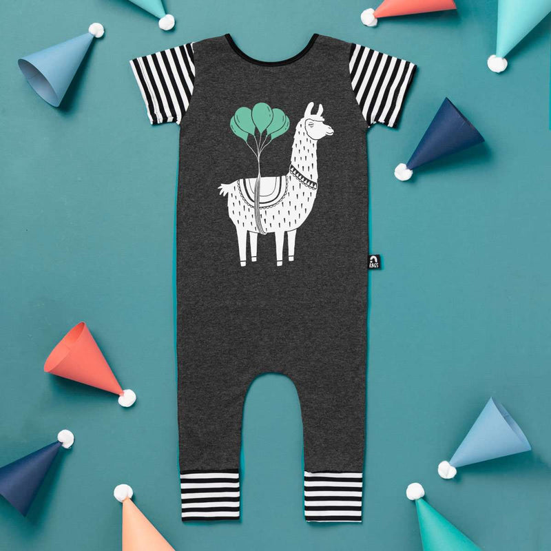 Short Sleeve Rag - 'Party Llama' - Charcoal Heather