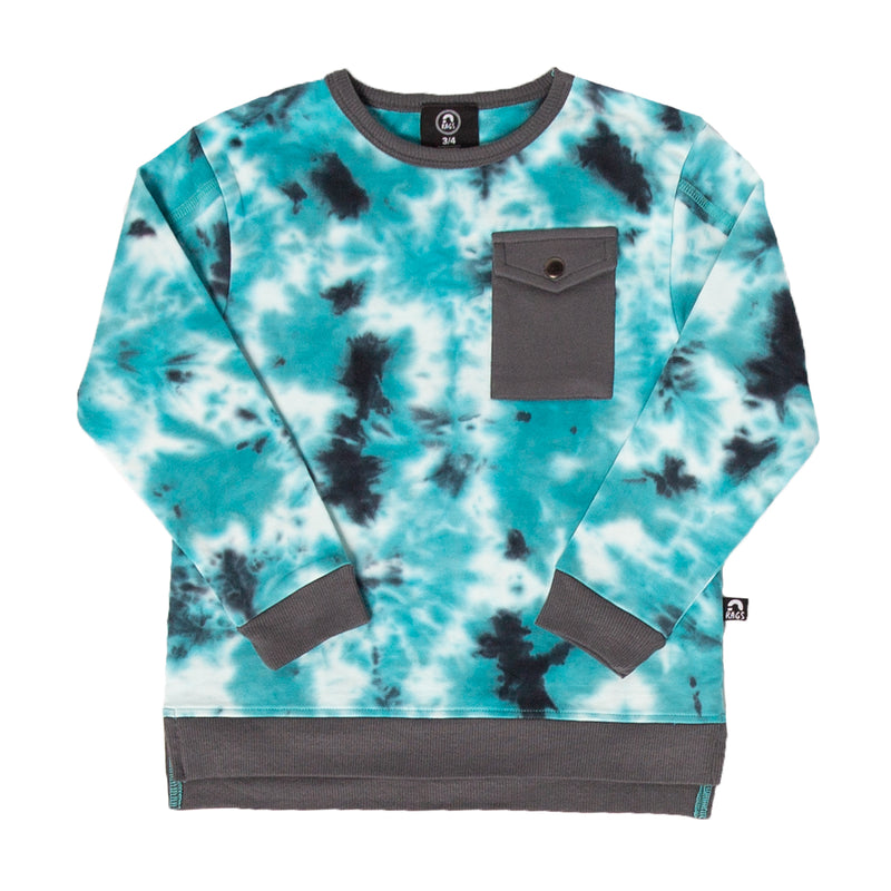 Kids Drop Shoulder Pocket Sweatshirt - 'Tie Dye' - Turtledove