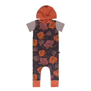 Short Sleeve Hooded Rag - 'Winter Poppy Floral' - Ginger Spice