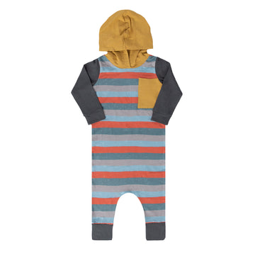 Long Sleeve Hooded Big Pocket Rag - 'Paint Stripe' - Mustard Gold