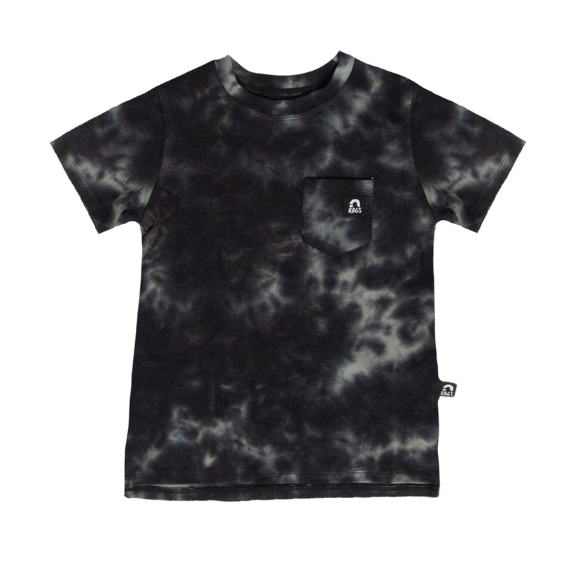 Short Sleeve Chest Pocket Tee - 'Tie Dye' - Pewter