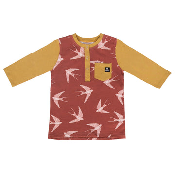 3/4 Sleeve Henley Kids Tee - 'Swallows' - Maroon