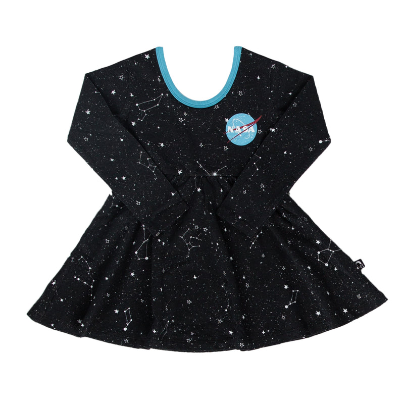 Long Sleeve Swing Dress - 'NASA' - Constellations