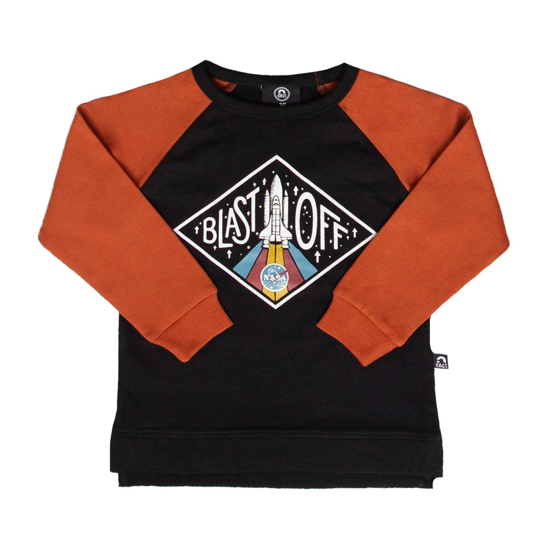 Kids Crewneck Sweatshirt - 'Blast Off' - Black