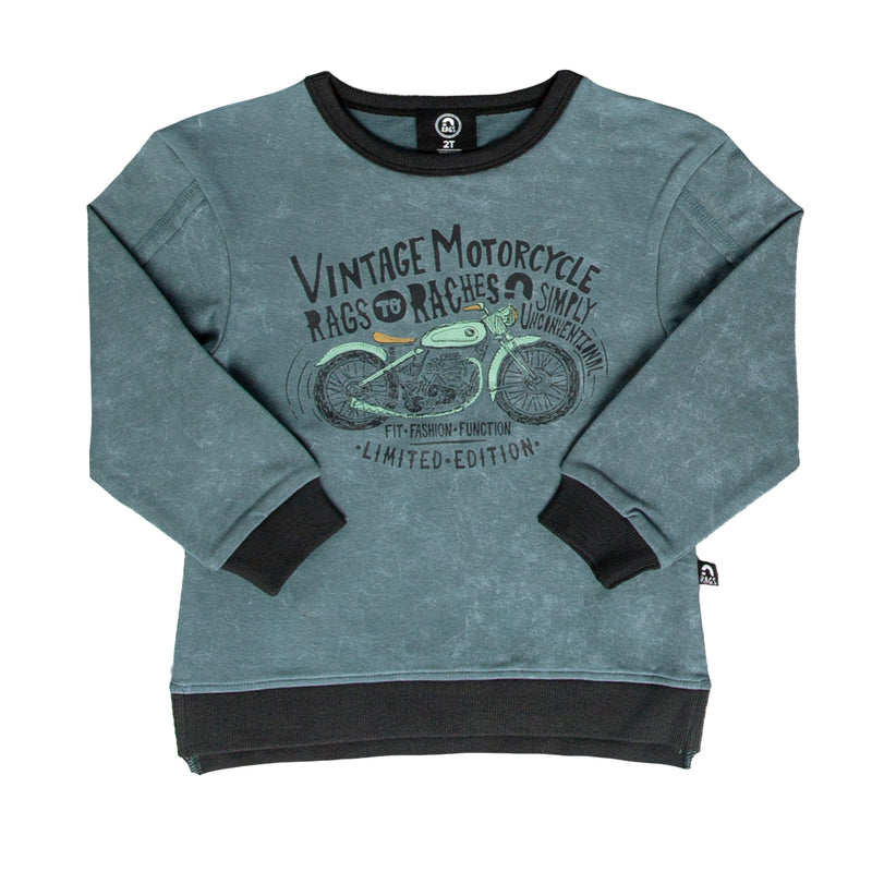Kids Drop Shoulder Sweatshirt - 'RAGS Vintage Motorcycle' - Goblin Blue