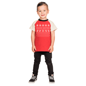 Kids Raglan Drop Back Holiday Tee Shirt  - 'Seasons Greetings'