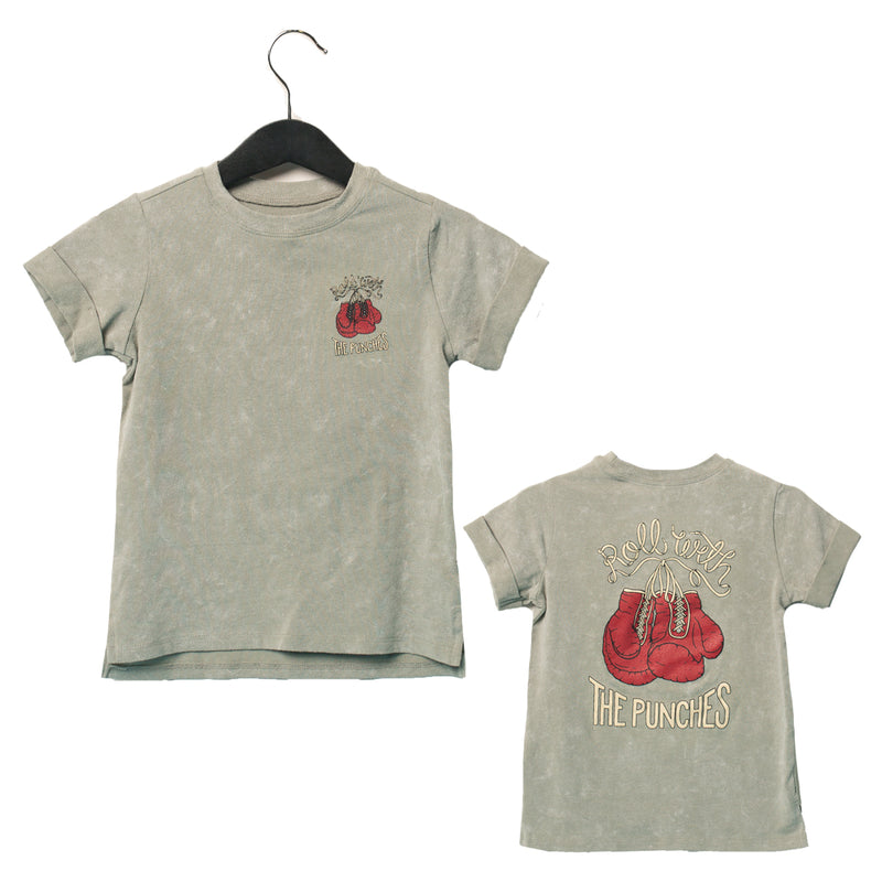 Rolled Sleeve Kids Tee - 'Roll with the Punches' - Washed Wrought Iron