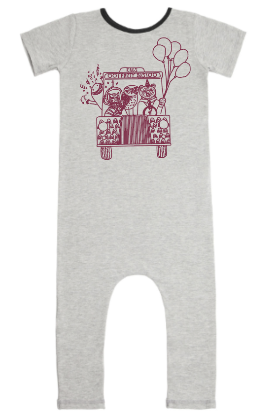 **PREORDER** Short Sleeve Cuffless Rag Romper - 'Party Bus' - Heather Grey