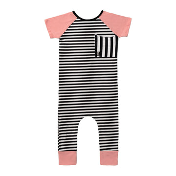 Short Sleeve Raglan Big Pocket Rag Romper - 'Black and White Stripes' - Pink