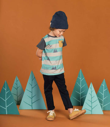 Kid's Drop Back Tee Shirt - 'Bambi Forest Stripe' - Disney Collection from RAGS