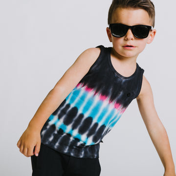 Kids Pocket Tank with Button - 'Tie Dye' - Black Iris, Camellia Rose, Hawaiian Ocean Tie-dye