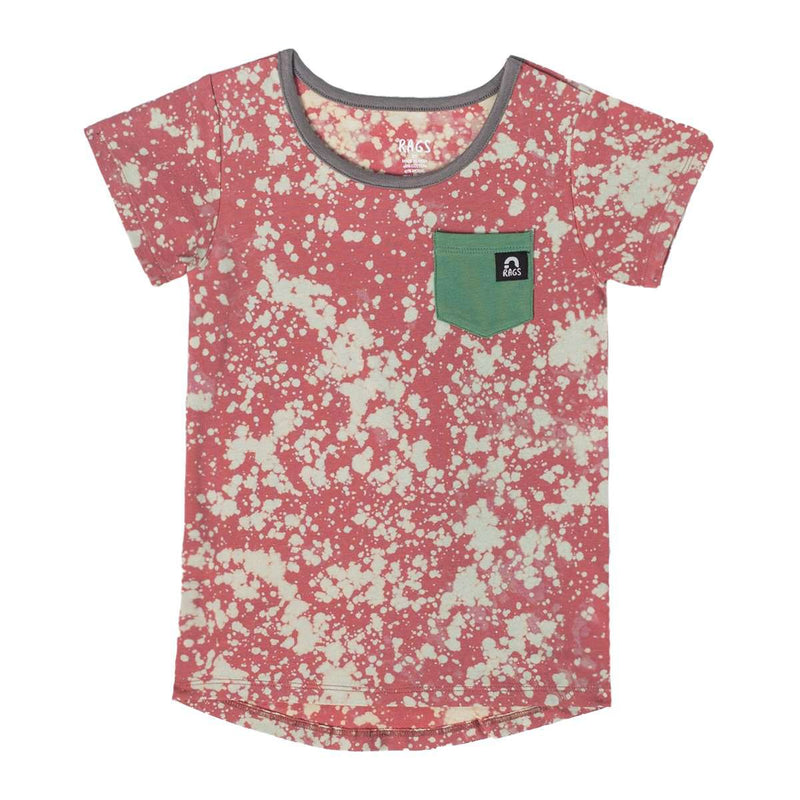 Short Sleeve Chest Pocket Tee - 'Cranberry Tie Dye' - Green Pocket