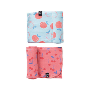 Baby Swaddle - 'Peaches & Cherries' - Two Pack