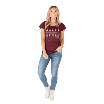 Women's Scoop Neck Tee - 'Seasons Greetings' - Maroon