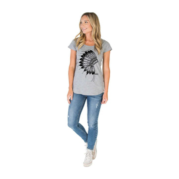 Women's Scoop Neck Tee Shirt - 'The Native'