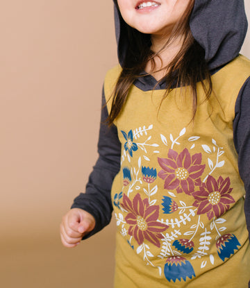 Long Sleeve Hooded Rag Romper - 'Classic Floral' - Mustard Gold