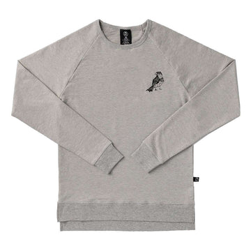 Unisex Adult Crewneck Sweatshirt - 'Pretty Bird' - Heather Grey