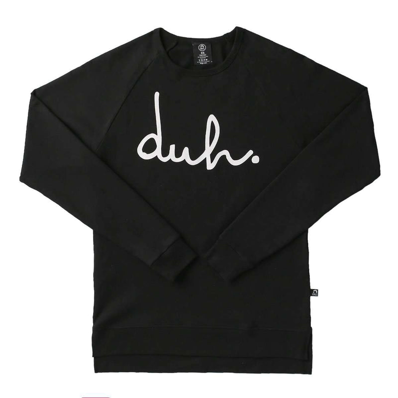 Unisex Adult Crewneck Sweatshirt - 'duh' - Black