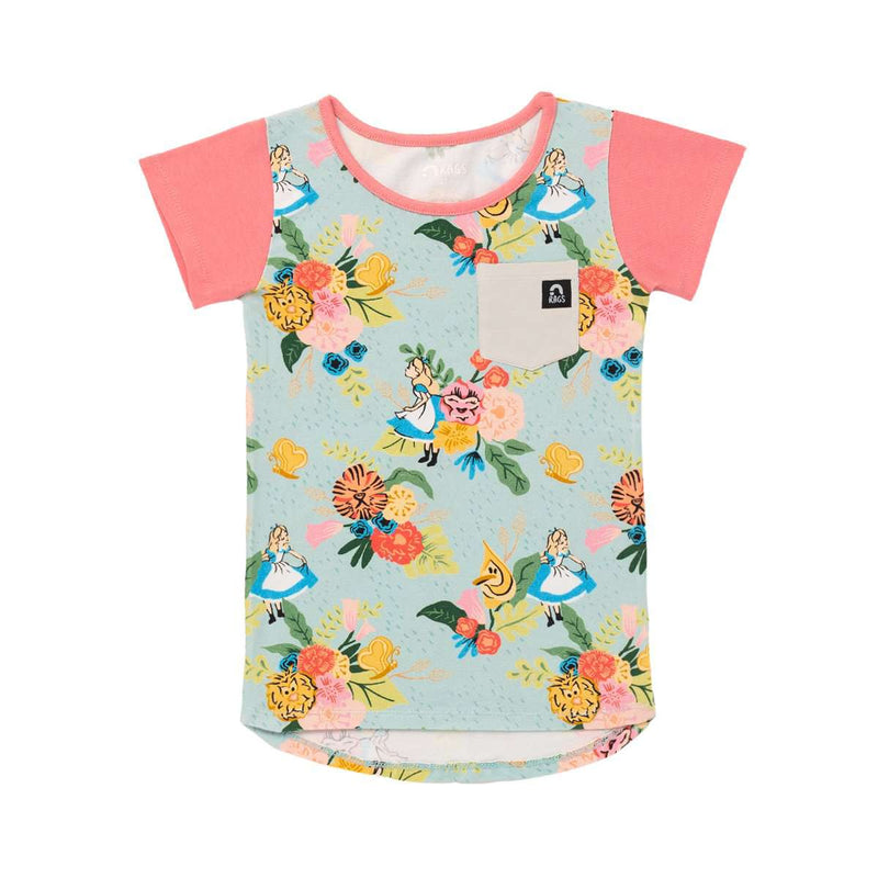 Kids Pocket Tee - 'Alice in the Flowers' - Disney Collection from RAGS