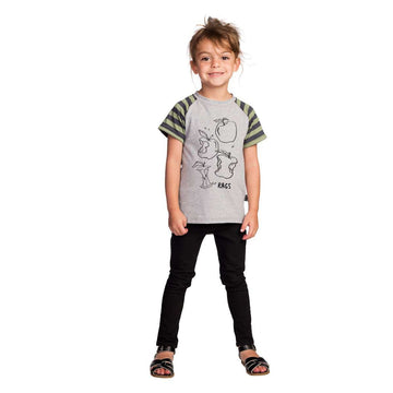 Kids Drop Back Raglan Tee Shirt - 'Apples' - Heather Grey