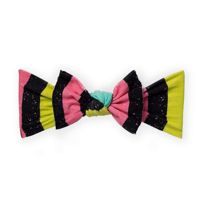 Baby Bling Bow - 'Neon Stripe Splatter'