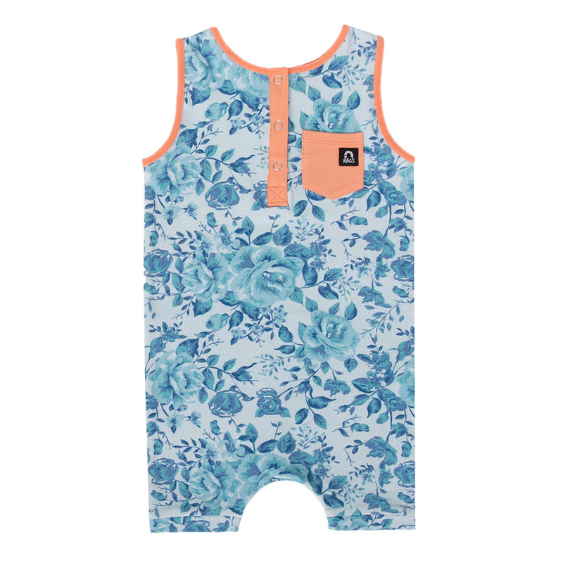 Tank Pocket Henley Short Rag - 'Nancy Floral' - Monochrome Blue