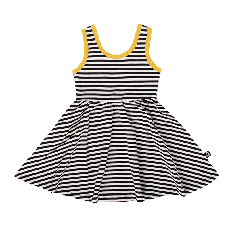 Tank Swing Dress - 'Black & White Stripe' - Bamboo Yellow