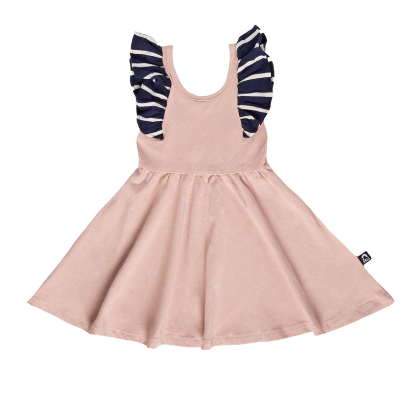 Tank Ruffle Swing Dress - 'Adobe Rose' - Blue & White Stripe