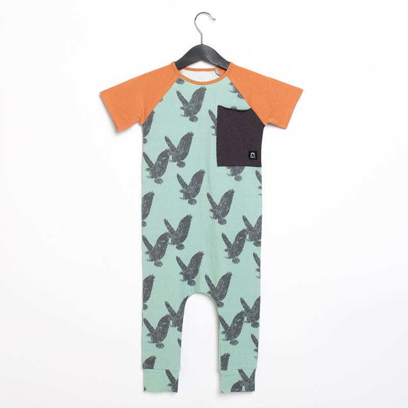 Short Sleeve Big Pocket Rag Romper - 'Hawks' - Aqua Foam
