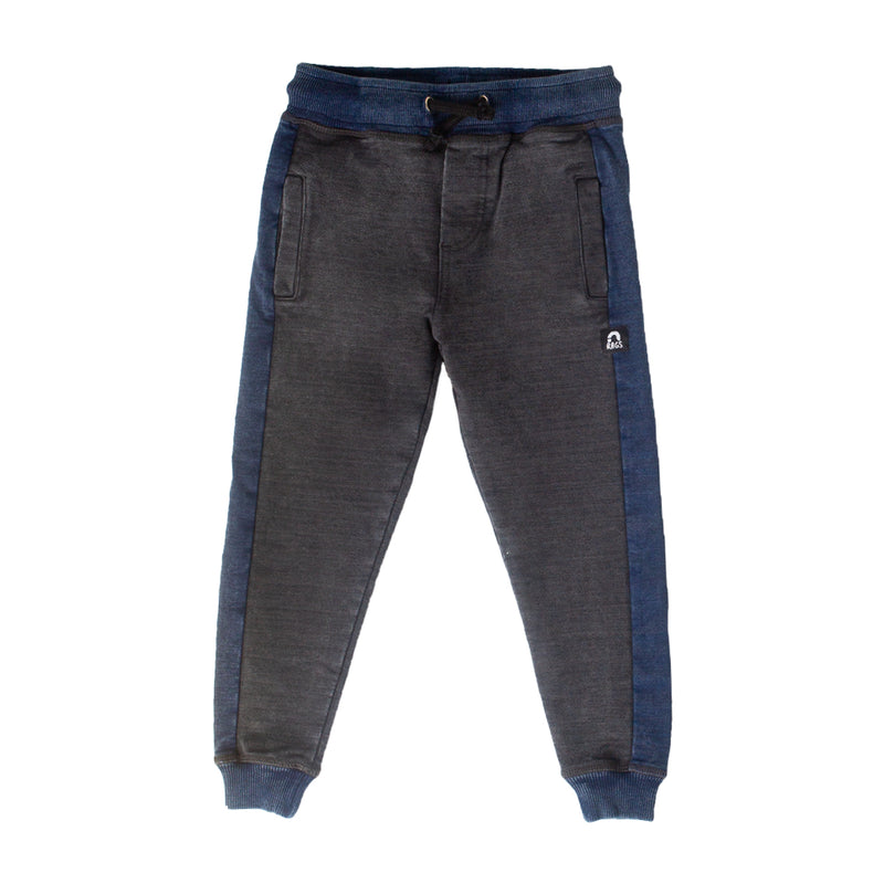 Kids Joggers - 'Black Denim Stone Wash'