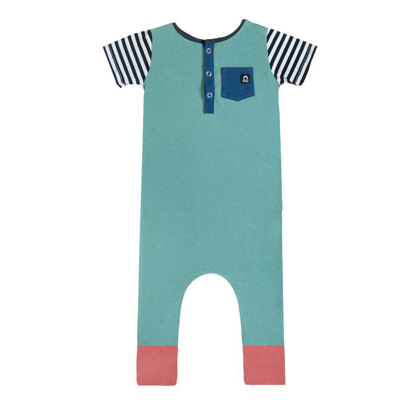 Short Sleeve Henley Rag Romper - 'Dusty Jade' - Stripe Sleeves