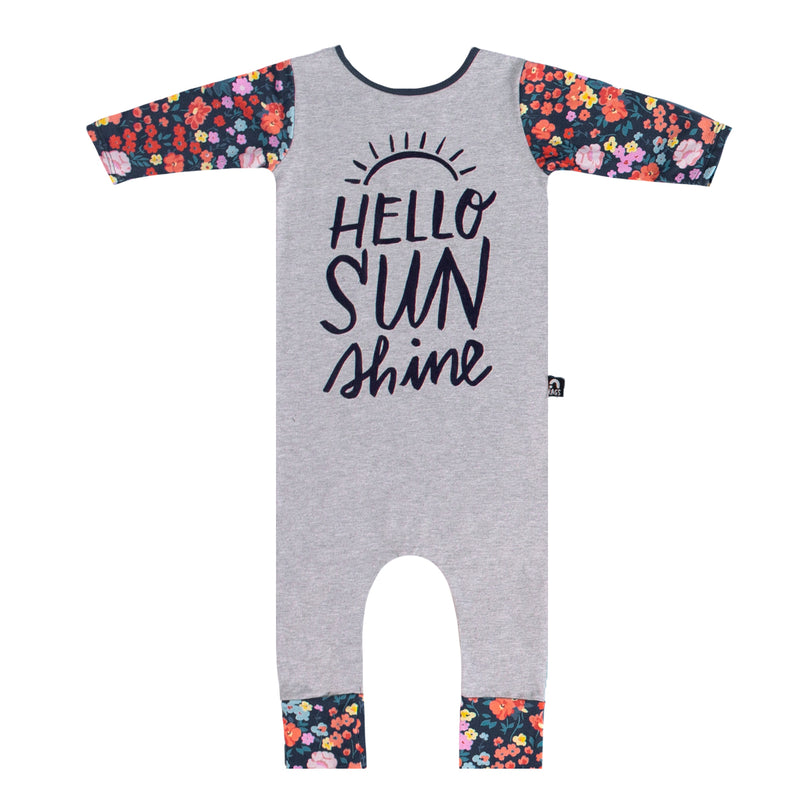 3/4 Sleeve Rag - 'Hello Sunshine' - Heather Grey