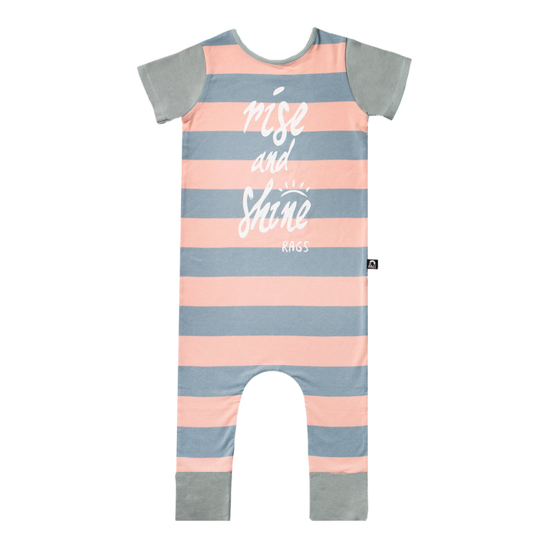 Short Sleeve Rag Romper - 'Rise & Shine' - Coral Cloud Stripe