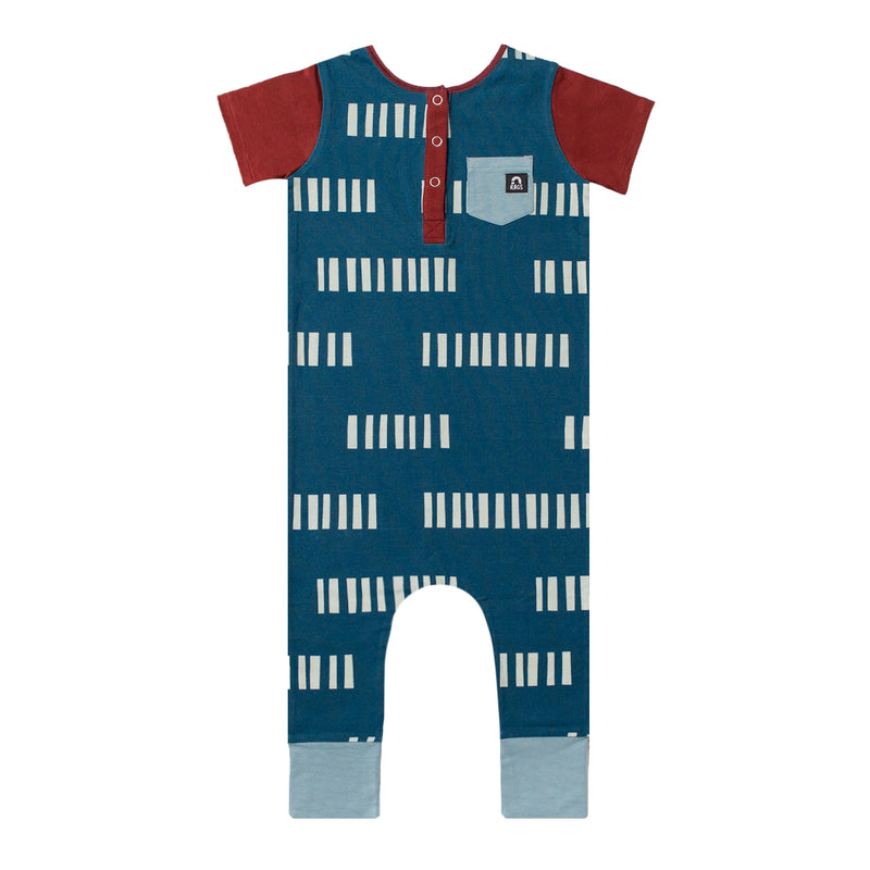Short Sleeve Henley Rag Romper - 'Blue Tallies' - Fired Brick