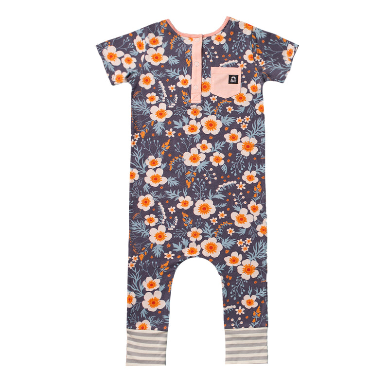 Short Sleeve Henley Rag Romper - 'Periscope Floral' - Pink