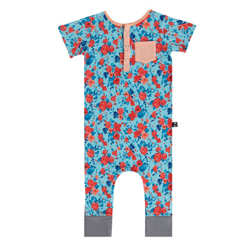 Short Sleeve Henley Rag - 'Blue Poppy Floral' - Coral