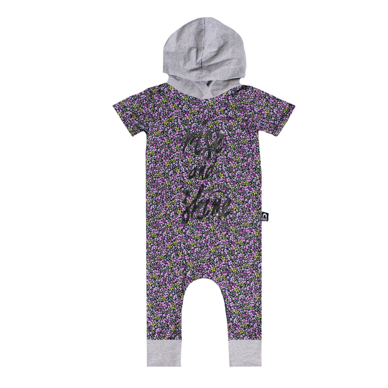 Short Sleeve Hooded Rag Romper - 'Rise & Shine' - Throwback Floral