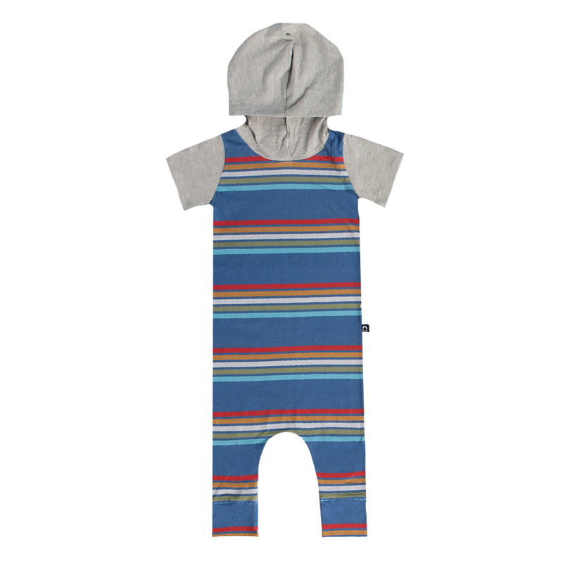 Short Sleeve Hooded Rag Romper - 'Retro Stripe' - Ensign Blue